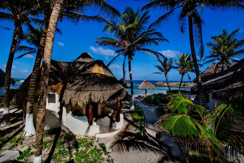 Barefoot luxury spa and resort on ocean front in Mayatulum Mexico