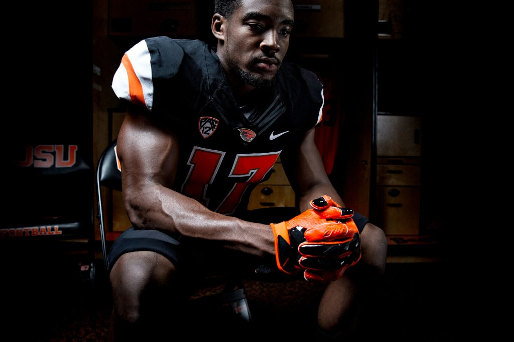 Dramatic Lighting on Football Player or OSU
