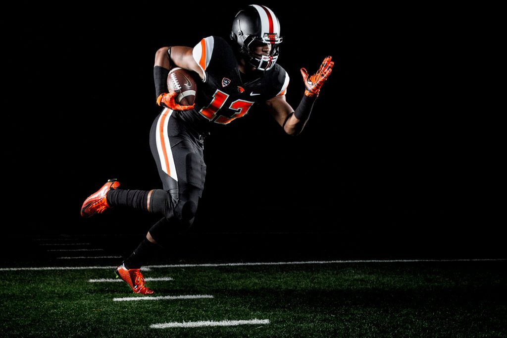 Dramatic Lighting on Football Player or OSU 10
