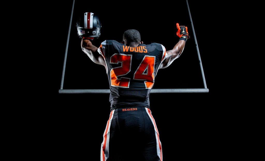 Dramatic Lighting on Football Player or OSU 9