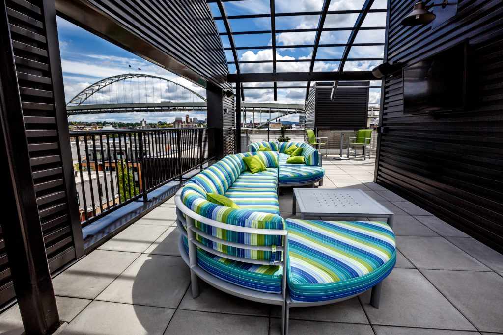 Portland Architecture downtown city view with modern couch