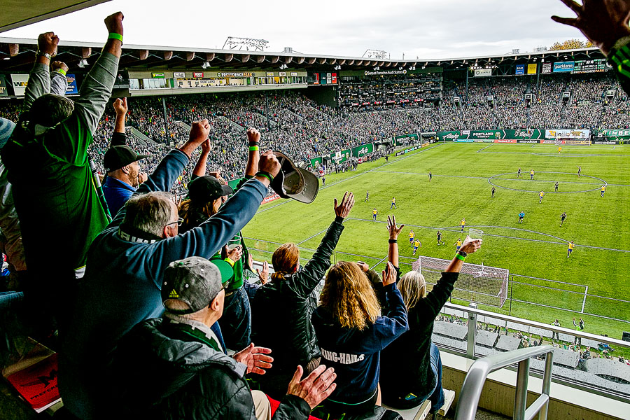 Fans cheering Portland Timbers winning goal
