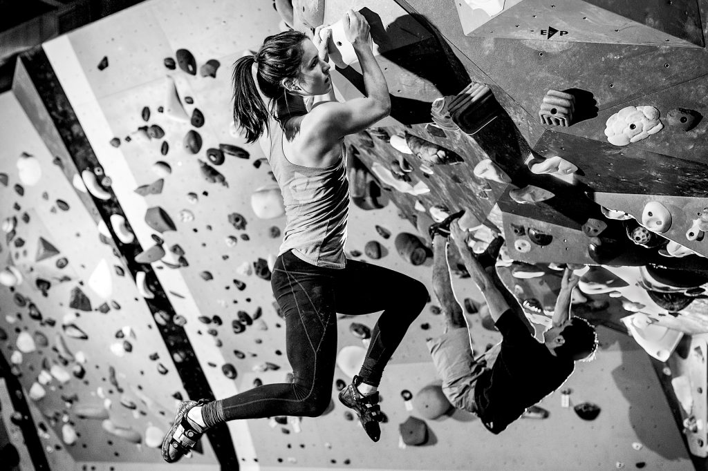 Woman rock climbing at Multnomah Athletic Club in Portland