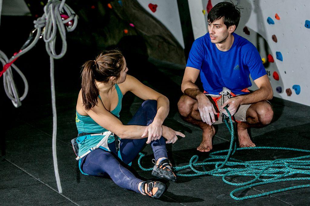 Rock climbers talking in Multomah Athletic Club in Portland Oregon