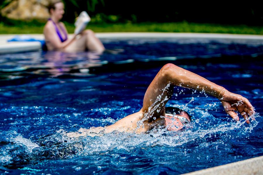 Swimming in Salt Water Pool at Pura Vida Spa and Retreat