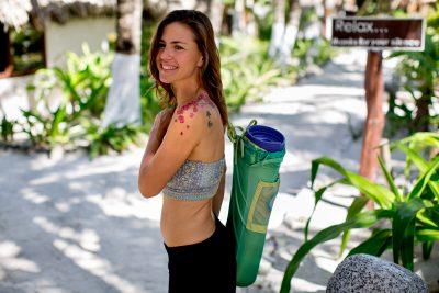 Woman going to yoga Maya Tulum Spa Retreat Mexico