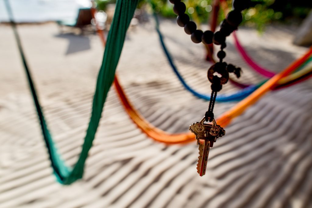 Hammocks and Room Key at Tropical Outdoor Shower at Maya Tulum Spa and Resort