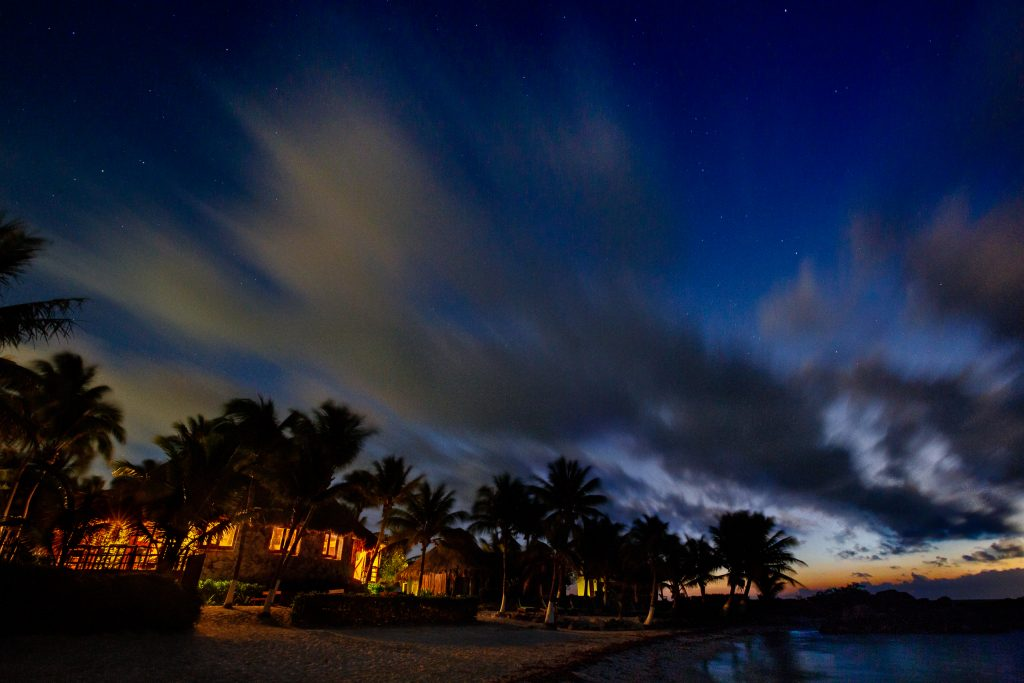 Sunrise with stars at Mayatulum Spa and Resort in Mexico